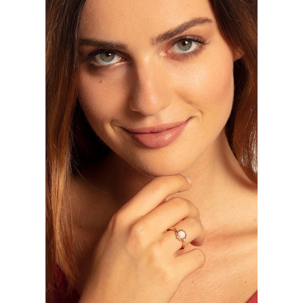 "THOMAS SABO Diamantring »Ring ""Vintage rosa"", D_TR0043-925-26-48, 50, 52, 54, 56, 58, 60«, mit Diamanten und Rosenquarz"