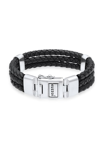 Kuzzoi Armband »Leder Geflochten Kastenverschluss 925er Silber« kaufen