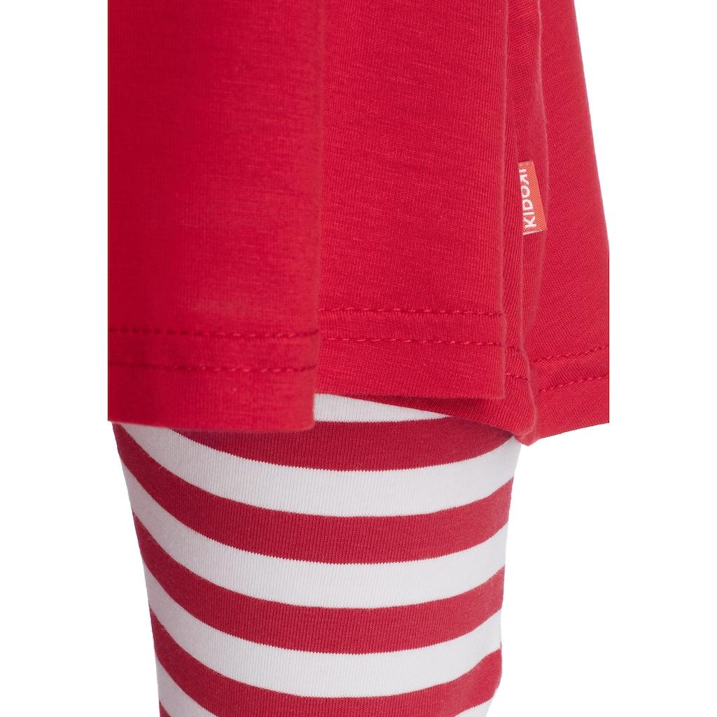 KIDSWORLD Kleid, Leggings & Haarband, Capri und Haarband maritim geringelt