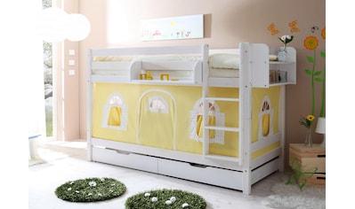 Ticaa Etagenbett »Marcel«, mit Textil-Set, Kiefer massiv weiß gewachst kaufen