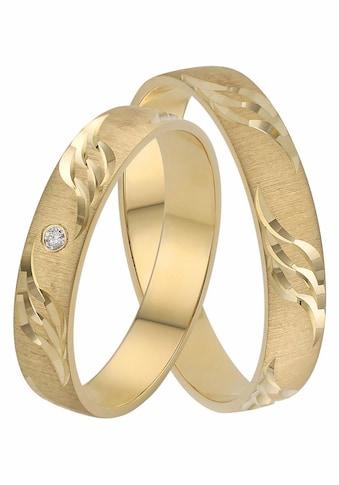 Firetti Trauring mit Gravur »quergebürstet, mit Diamantschnitt in Wellenform, 4,0 mm... kaufen
