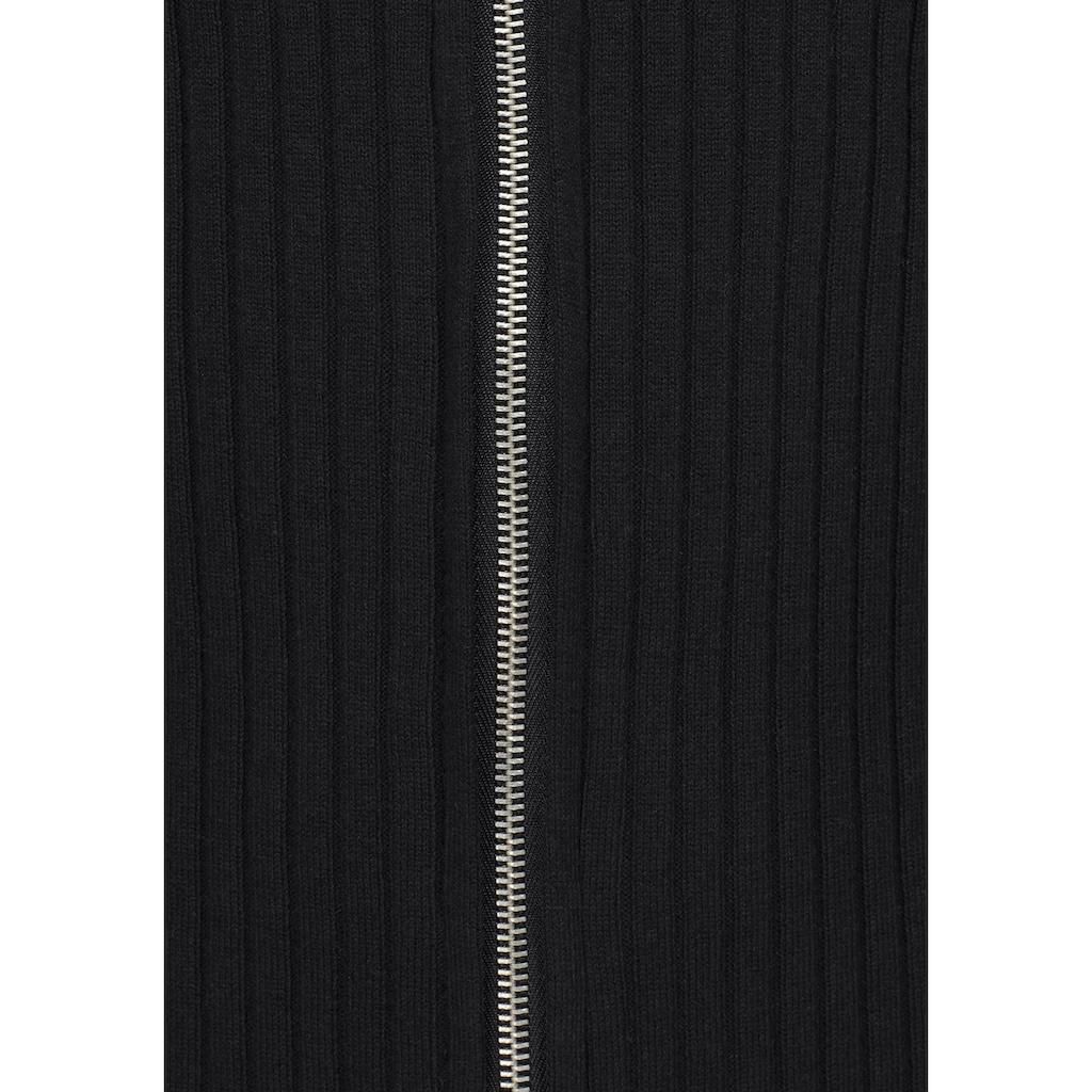 AJC Strickjacke, in Rippenstrick mit Zipper vorne
