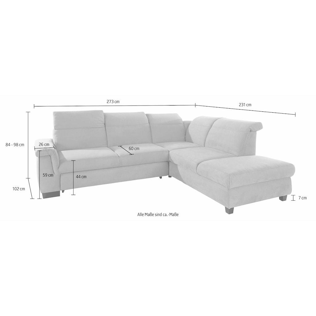 DOMO collection Ecksofa »Sully Top«, wahlweise mit Bettfunktion und Rückenverstellung