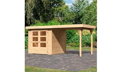 KARIBU Set: Gartenhaus »Arnis 2«, BxT: 467x238 cm, mit Anbaudach kaufen
