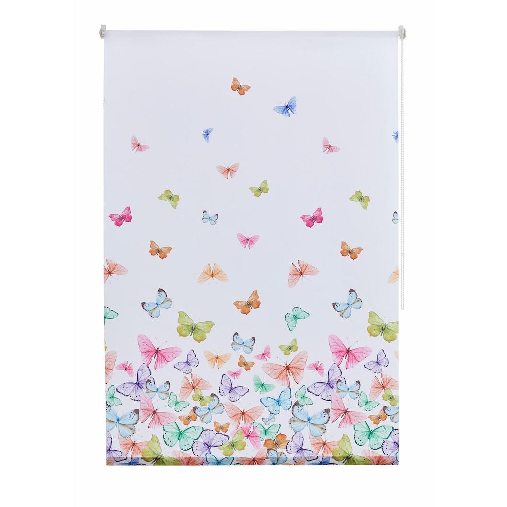Home affaire Seitenzugrollo »Butterfly«, Lichtschutz, ohne Bohren, freihängend, im Fixmaß
