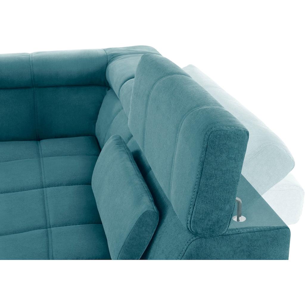 DOMO collection Wohnlandschaft, inklusive Kopfteilverstellung, wahlweise mit Sitztiefenverstellung, frei im Raum stellbar