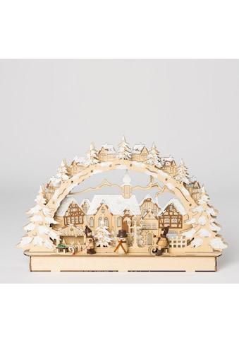 HGD Holz - Glas - Design LED - Lichterbogen Stadt mit Winterkindern kaufen
