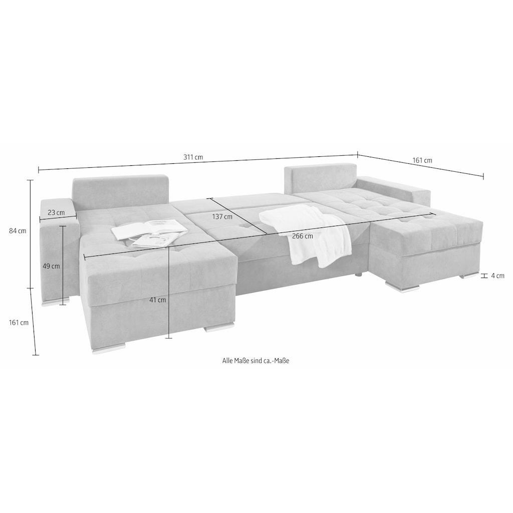 COLLECTION AB Wohnlandschaft, mit Bettfunktion, Bettkasten und Federkern, inklusive loser Rücken- und Zierkissen, frei im Raum stellbar