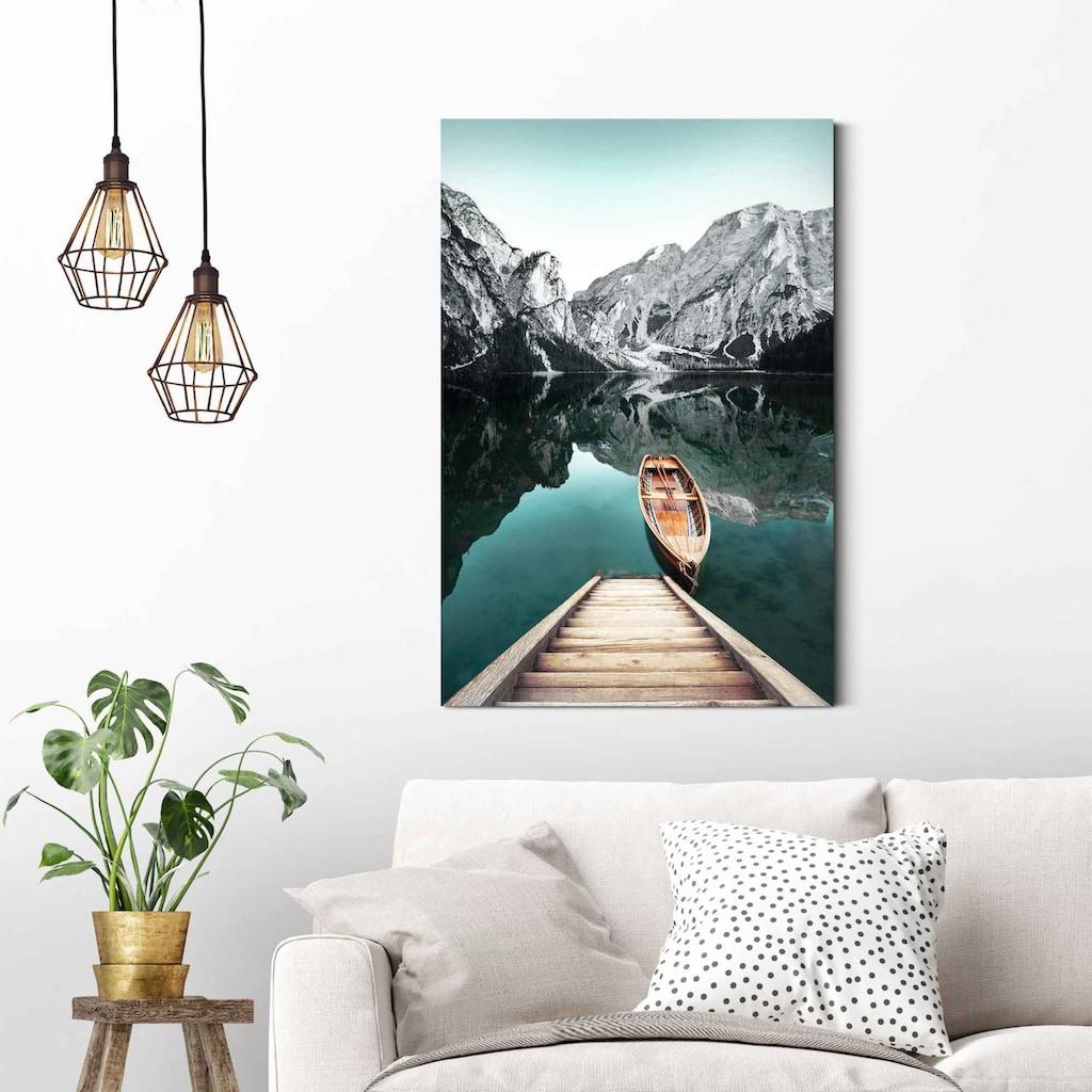 Reinders! Wandbild »Wandbild Berg See Rocky Mountains - Glacier - Winter«, Seelandschaft, (1 St.)