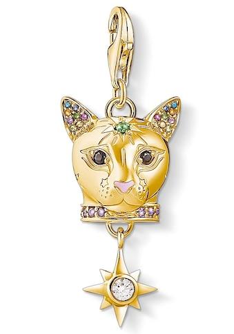 THOMAS SABO Charm-Einhänger »Katze gold, 1819-471-7«, mit Emaille, synth. Korund,... kaufen