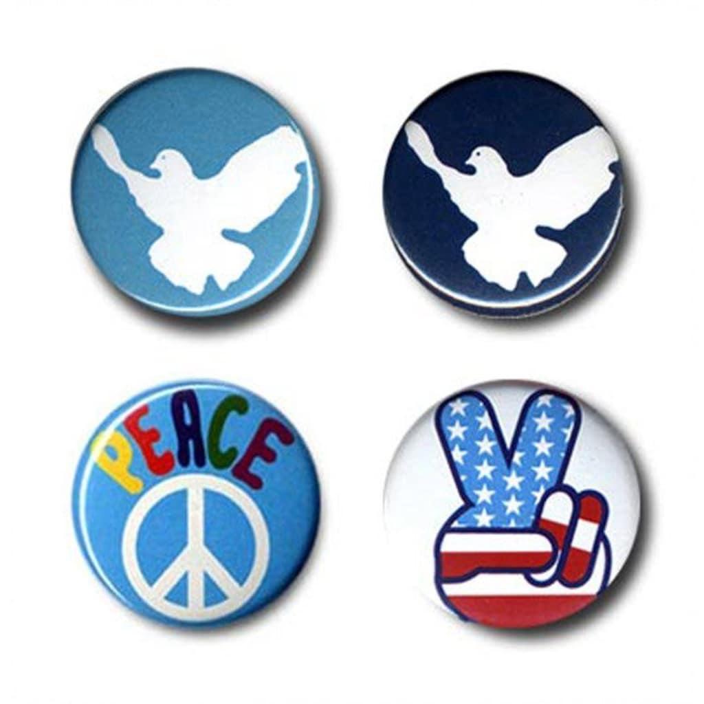 LOGOSHIRT Button 4er Set mit Friedens-Motiven