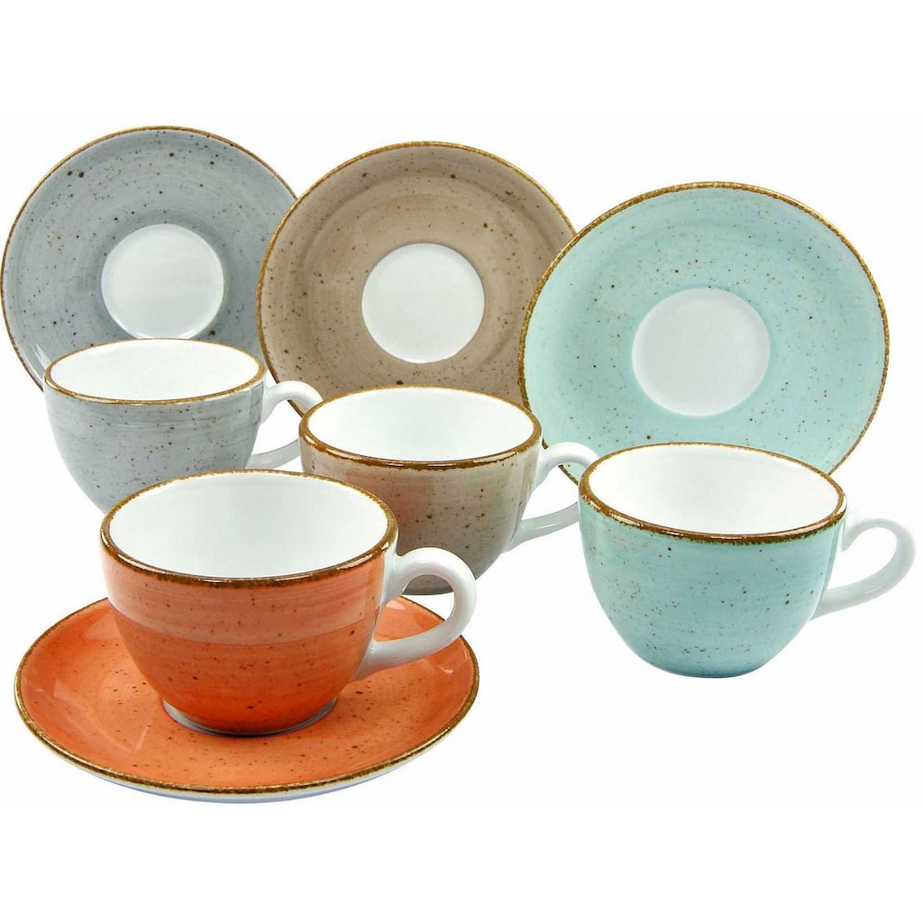 CreaTable Tasse »VINTAGE NATURE«, (Set, 8 tlg.), 4 Tassen, 4 Unterteller