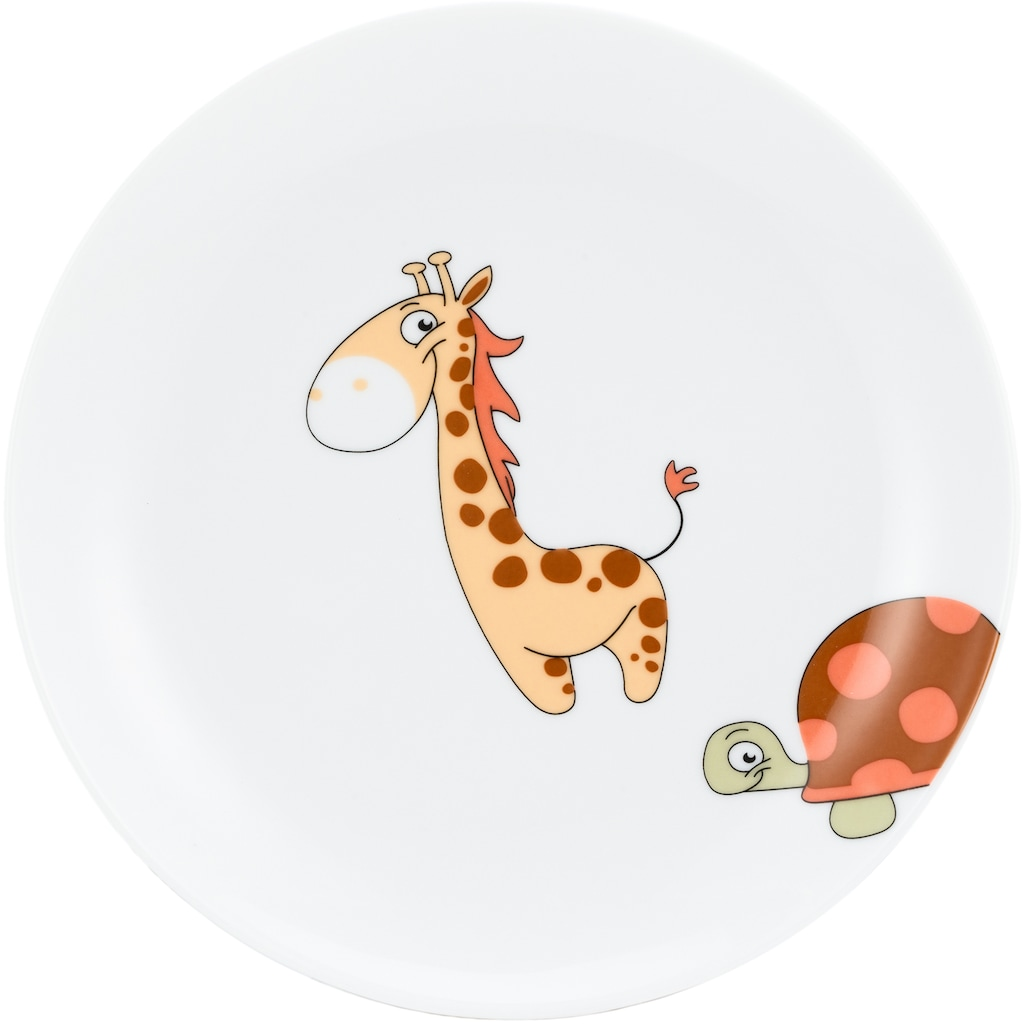 Lüttenhütt Kindergeschirr-Set »Lasse«, (Set, 3 tlg.), Dekor mit lustigen Tieren in aktuellem Farbtrend Urban Safari, für Jungs und Mädels, spülmaschinenfest