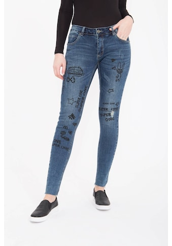 Blue Monkey Skinny-fit-Jeans »Honey 7105«, mit witzigen Druck Motiven, Used Look kaufen