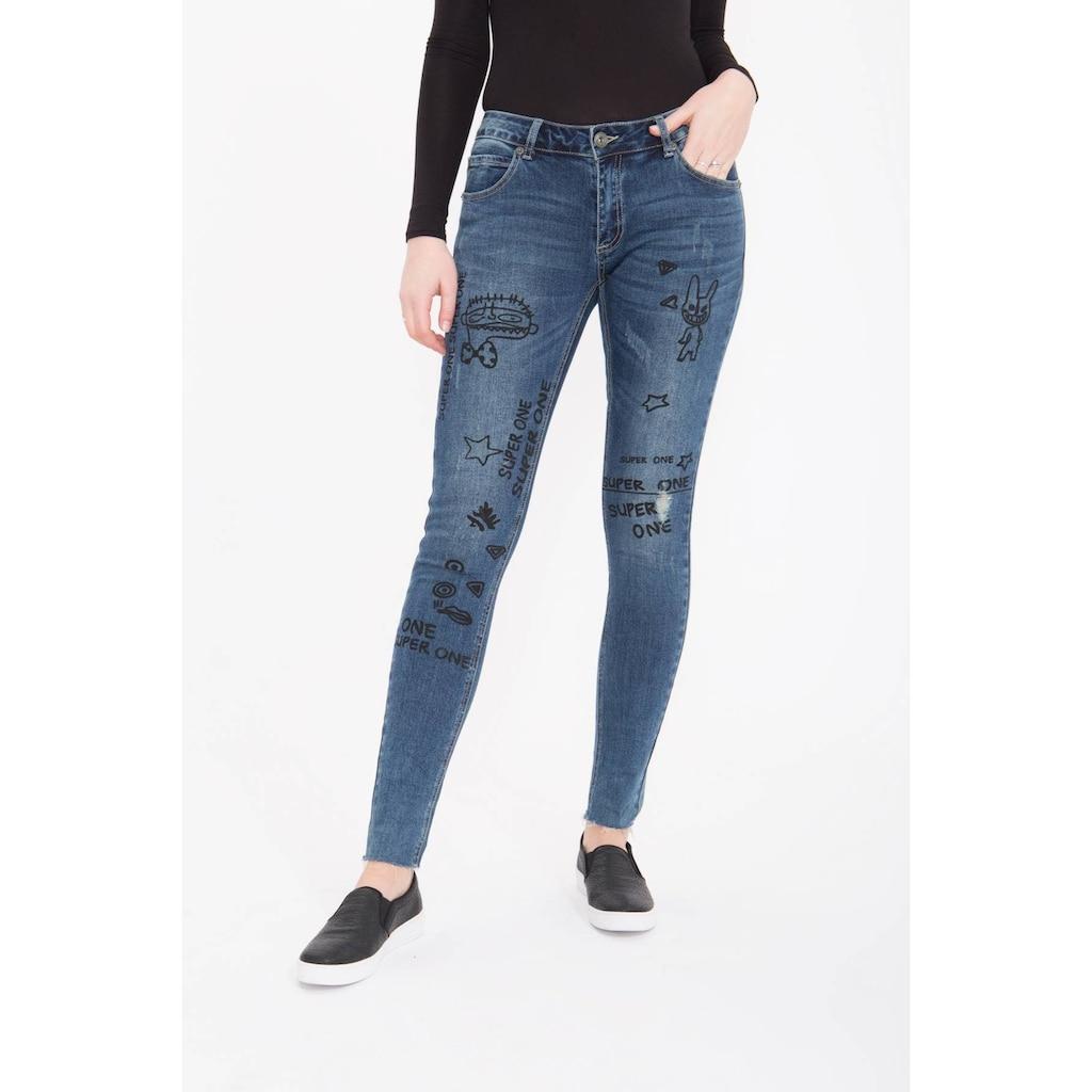 Blue Monkey Skinny-fit-Jeans »Honey 7105«, mit witzigen Druck Motiven, Used Look