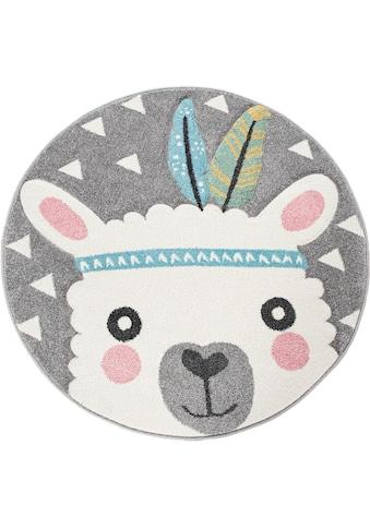 Paco Home Kinderteppich »Ela 214«, rund, 17 mm Höhe, Lama Motiv, Pastell-Farben,... kaufen