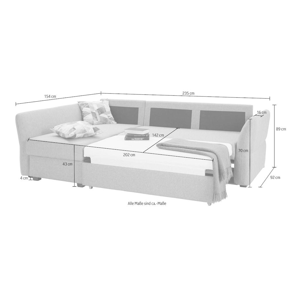 ATLANTIC home collection Ecksofa, inklusive Bettfunktion und Bettkasten