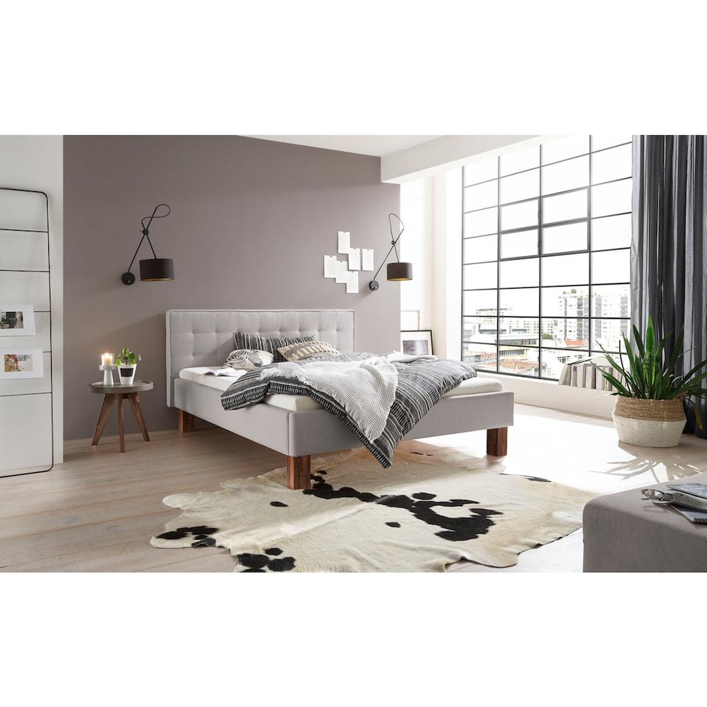 HASENA Polsterbett »Noemi«, Fußfarbe Nussbaum, Komforthöhe, Fußhöhe 25 cm