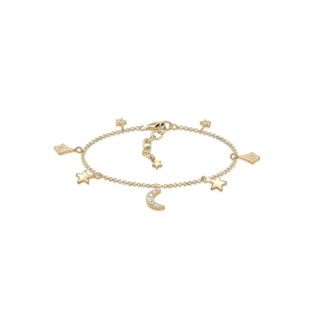 Elli Armband »Astro Sterne Halbmond Kristalle 925 Silber«