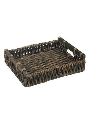 ARTRA Tablett »Tablett LIA M+S aus Wasserhyazinthe Braun mit Holzgriff«, (Set, 2 tlg.) kaufen