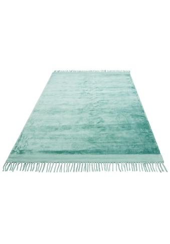Leonique Teppich »Rakel«, rechteckig, 10 mm Höhe, Seidenoptik, mit Fransen, Wohnzimmer kaufen