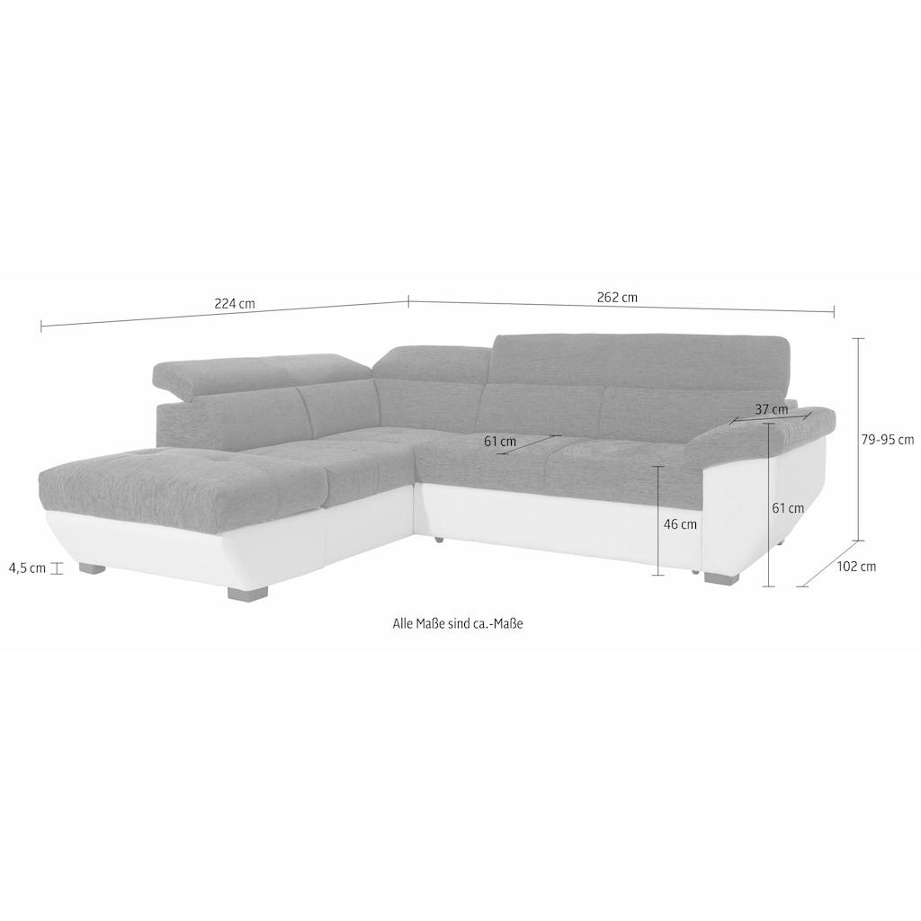 COTTA Polstergarnitur, (Set), Set: bestehend aus Ecksofa und Hocker, Ecksofa inklusive Kopfteilverstellung, wahlweise mit Bettfunktion und Bettkasten