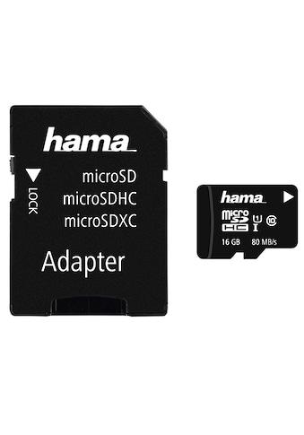Hama microSDHC 16 GB Class 10 UHS - I 80MB/s + Adapter/Mobile »microSD Memory Card« kaufen