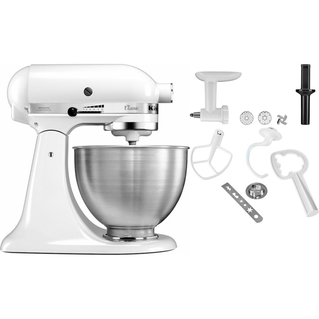KitchenAid Küchenmaschine »Classic 5K45SS EWH«, 275 W, 4,3 l Schüssel, inkl. Zubehör im Wert von ca. 112,-€ UVP. Farbe: weiß