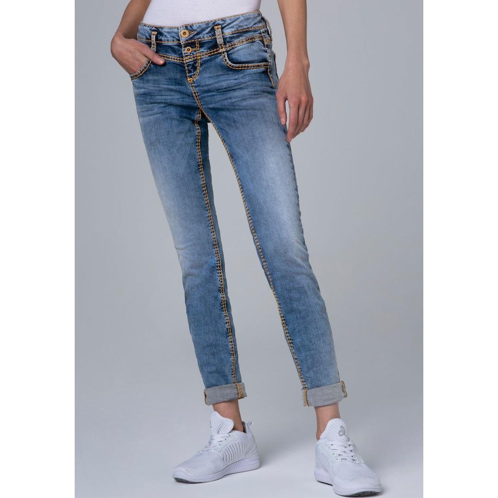 SOCCX Slim-fit-Jeans »KA:RA«, mit auffälligen Steppungen