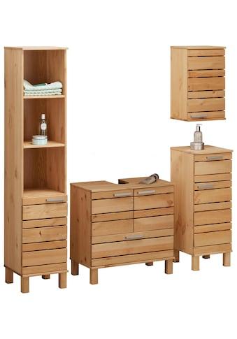 Home affaire Badmöbel-Set »Josie«, (Set, 4 tlg.), aus Massivholz, verstellbare Einlegeböden, Metallgriffe kaufen