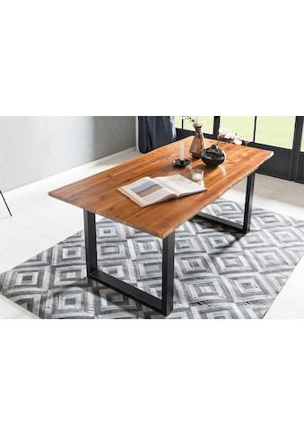 SalesFever Baumkantentisch, Sichtbare Maserung und Astlöcher, Esstisch aus Massivholz kaufen