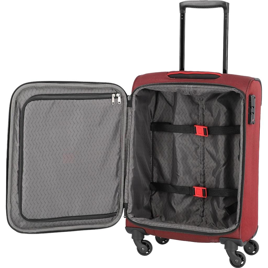 travelite Weichgepäck-Trolley »Derby, 55 cm, rot«, 4 Rollen