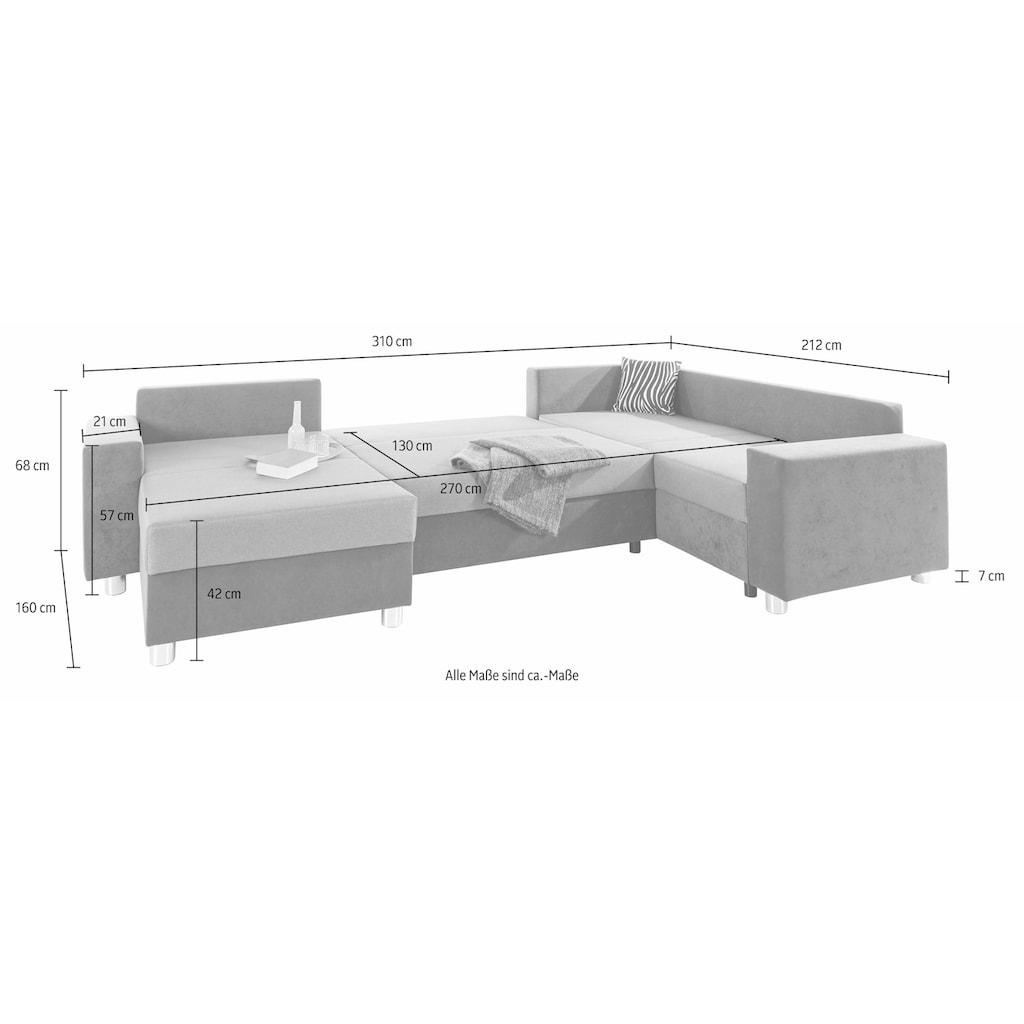 COLLECTION AB Wohnlandschaft, mit Federkern, wahlweise mit Bettfunktion und Bettkasten, inklusive loser Rücken- und Zierkissen, frei im Raum stellbar