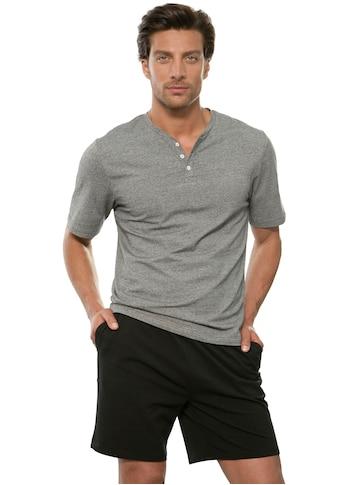 s.Oliver Bodywear Pyjama, Oberteil in Melange-Optik mit Knopfleiste kaufen