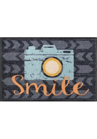 wash+dry by Kleen-Tex Fußmatte »Smile«, rechteckig, 7 mm Höhe, Schmutzfangmatte, mit... kaufen