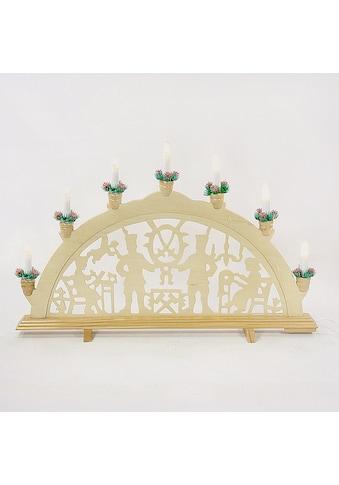 HGD Holz - Glas - Design Lichterbogen Bergleute mit Schraubgewindekerzen, 7 - flammig kaufen
