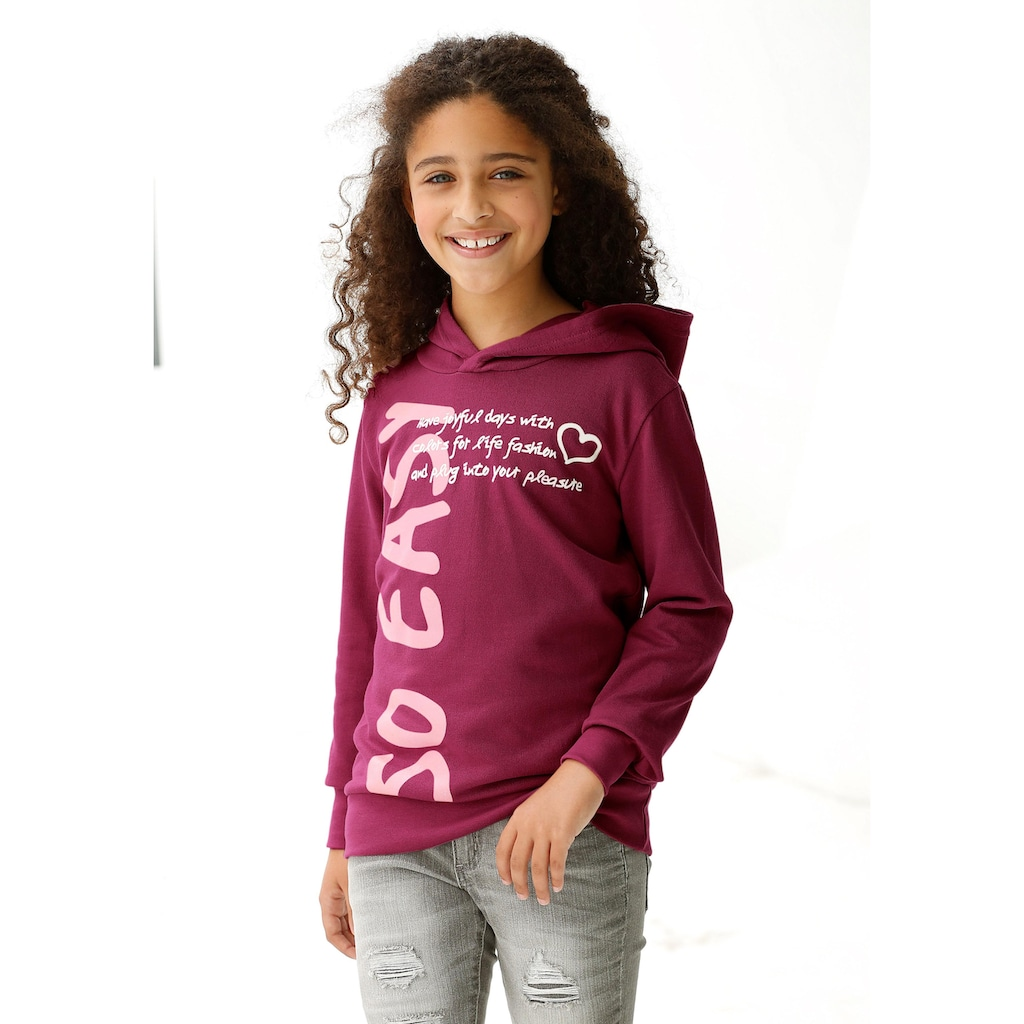KIDSWORLD Kapuzenshirt »so easy«, in längerer Form