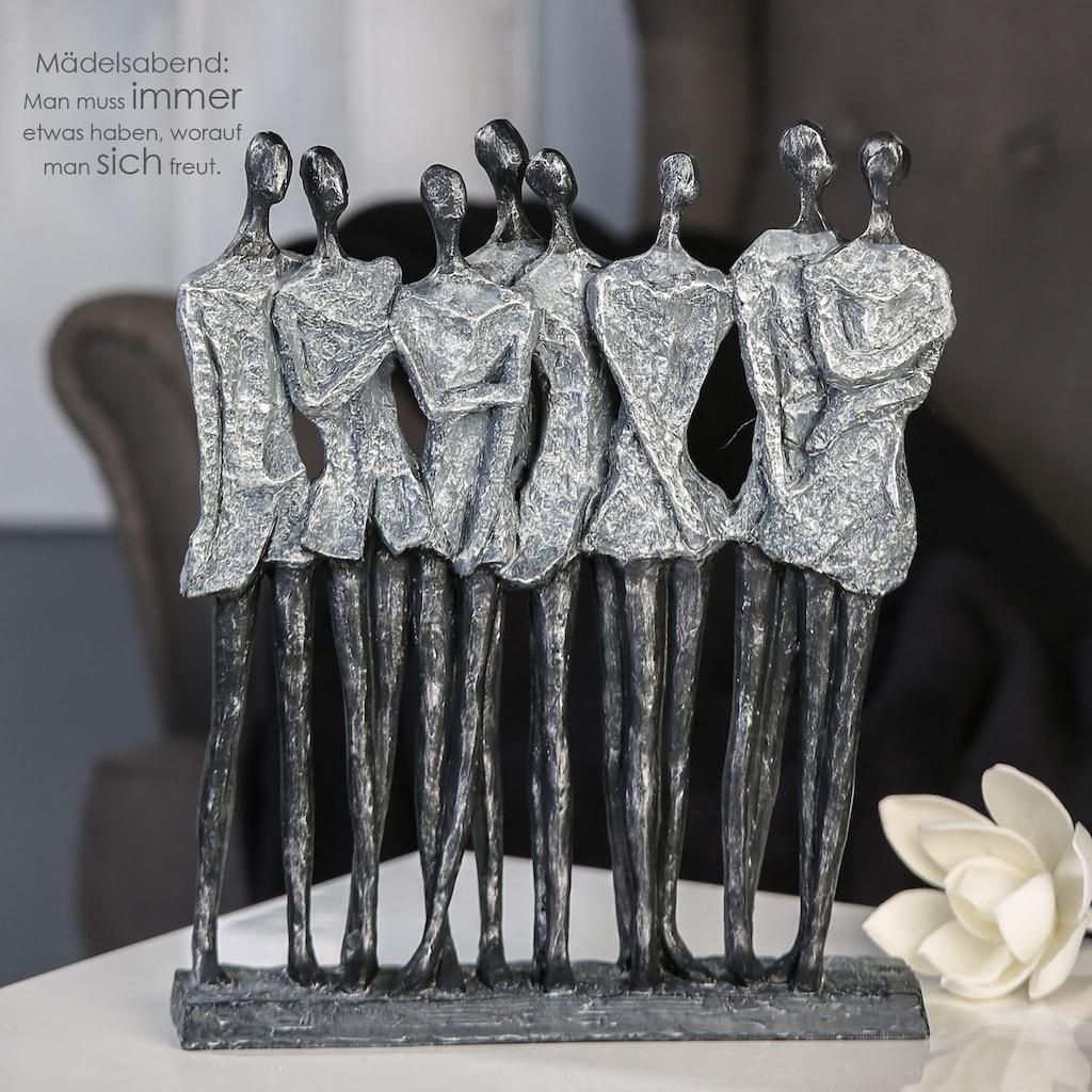Casablanca by Gilde Dekofigur »Skulptur Mädelsabend, antik silberfarben«, Dekoobjekt, Höhe 34 cm, antikfinish, mit Spruchanhänger, Wohnzimmer