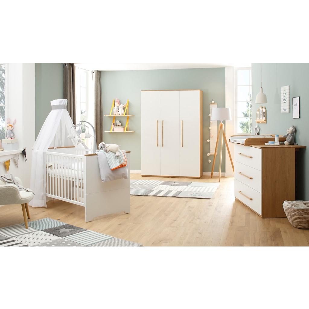 Lüttenhütt Baby Kleiderschrank »Lauris, weiß/eiche«, FSC®-Holz aus gewissenhaft bewirtschafteten Wäldern