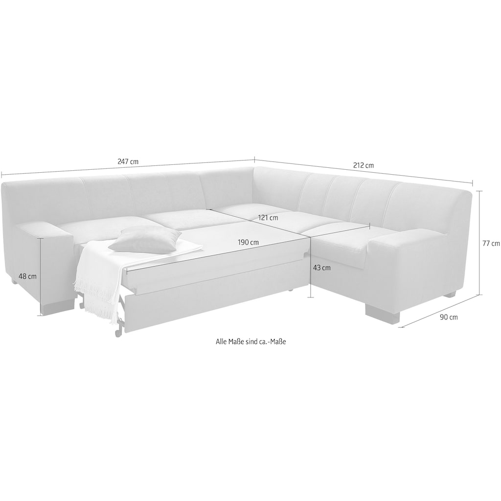 DOMO collection Ecksofa »Norma«, wahlweise mit Bettfunktion