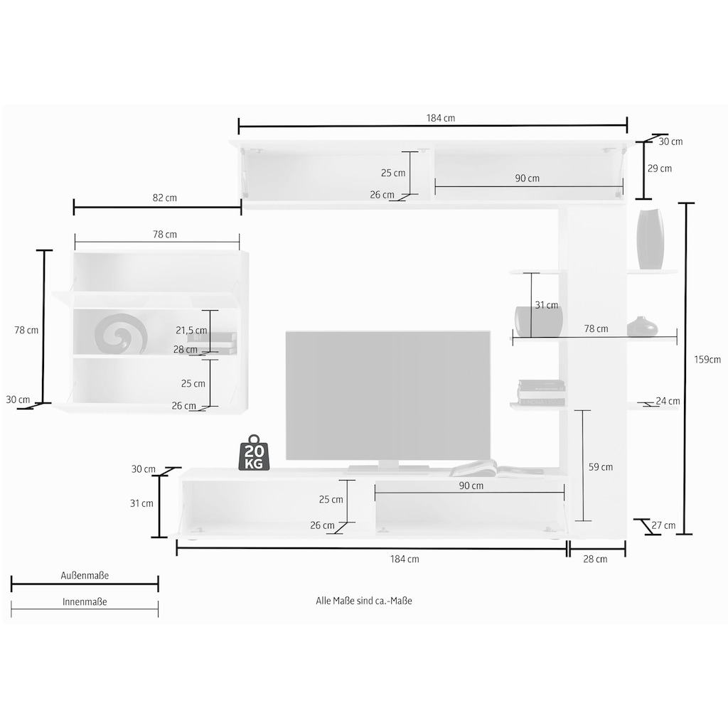 LC Wohnwand »Sorano«, (Set, 4 St.), mit Hängeschrank