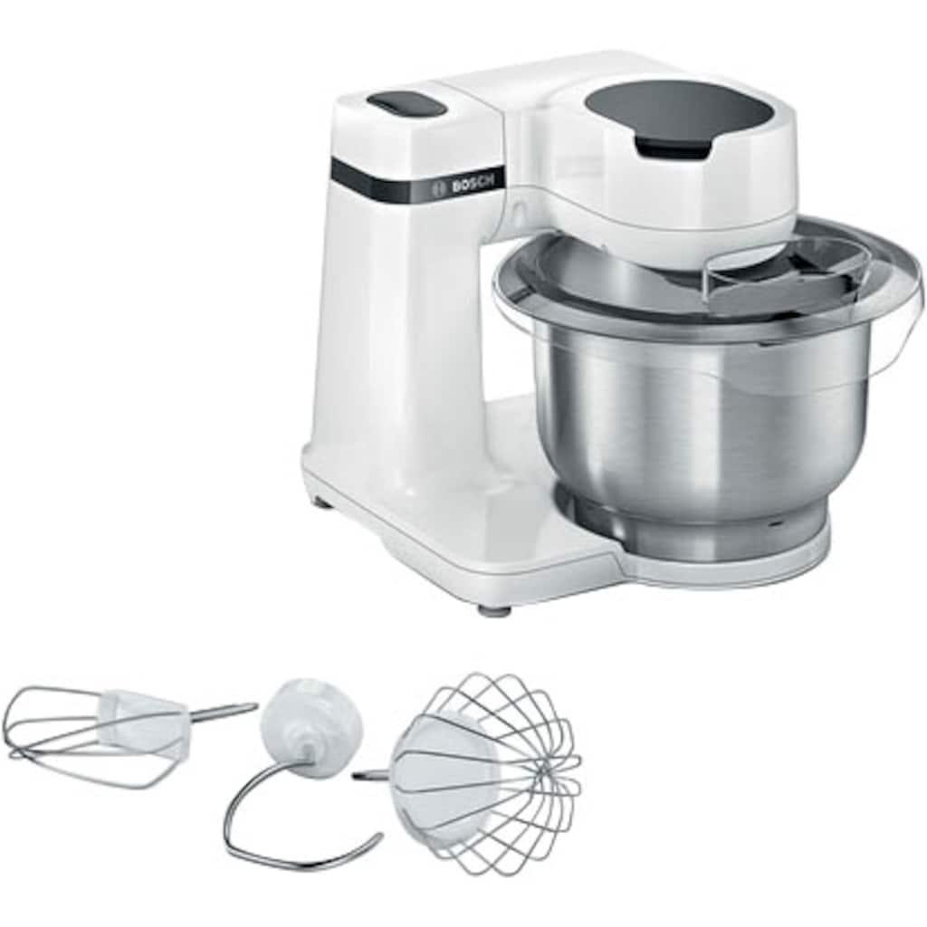 BOSCH Küchenmaschine »MUMS2EW00 MUM Serie 2«, 700 W, 3,8 l Schüssel, vielseitig einsetzbar, Patisserieset Edelstahl, weiß