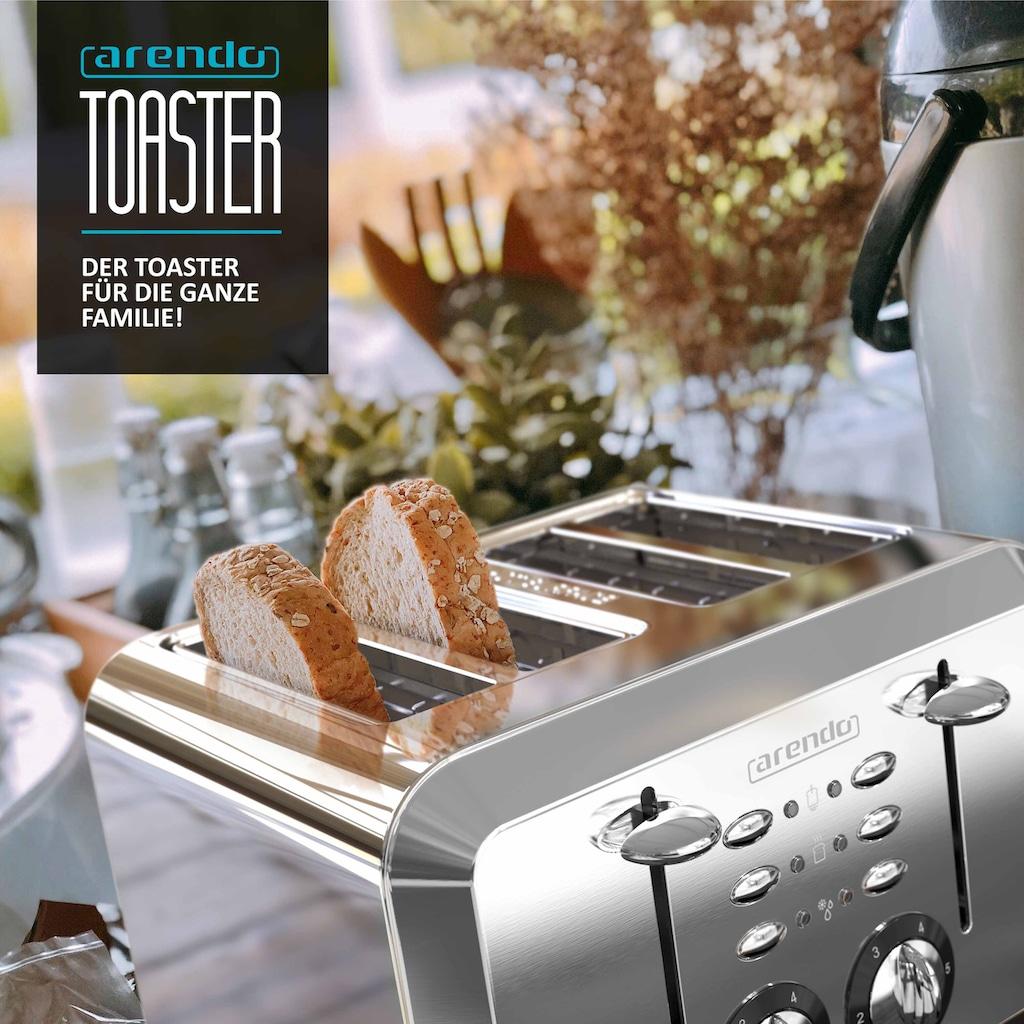 Arendo Toaster im Edelstahlgehäuse für 4 Scheiben