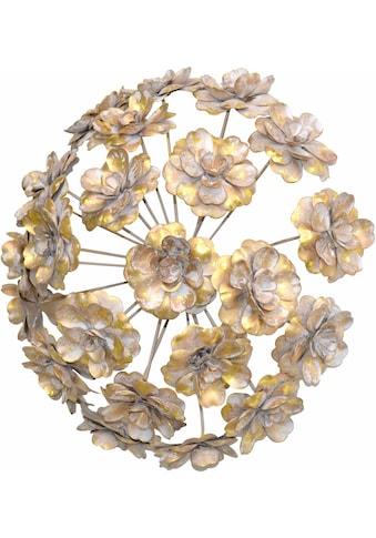 HOFMANN LIVING AND MORE Wanddekoobjekt, Wanddekoration aus Metall, rund, Motiv Blumen kaufen