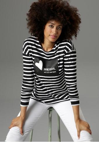 Aniston SELECTED Langarmshirt, mit breiteren Streifen am Ärmelsaum - NEUE KOLLEKTION kaufen