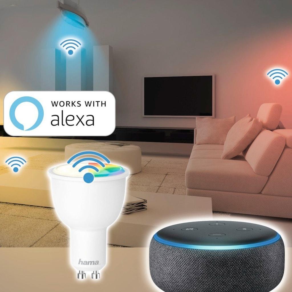 Hama Smarte LED-Leuchte »4,5W, dimmbar, kein Hub nötig«, WLAN LED Lampe, gesteuert via Alexa/Google Home, GU10, RGB