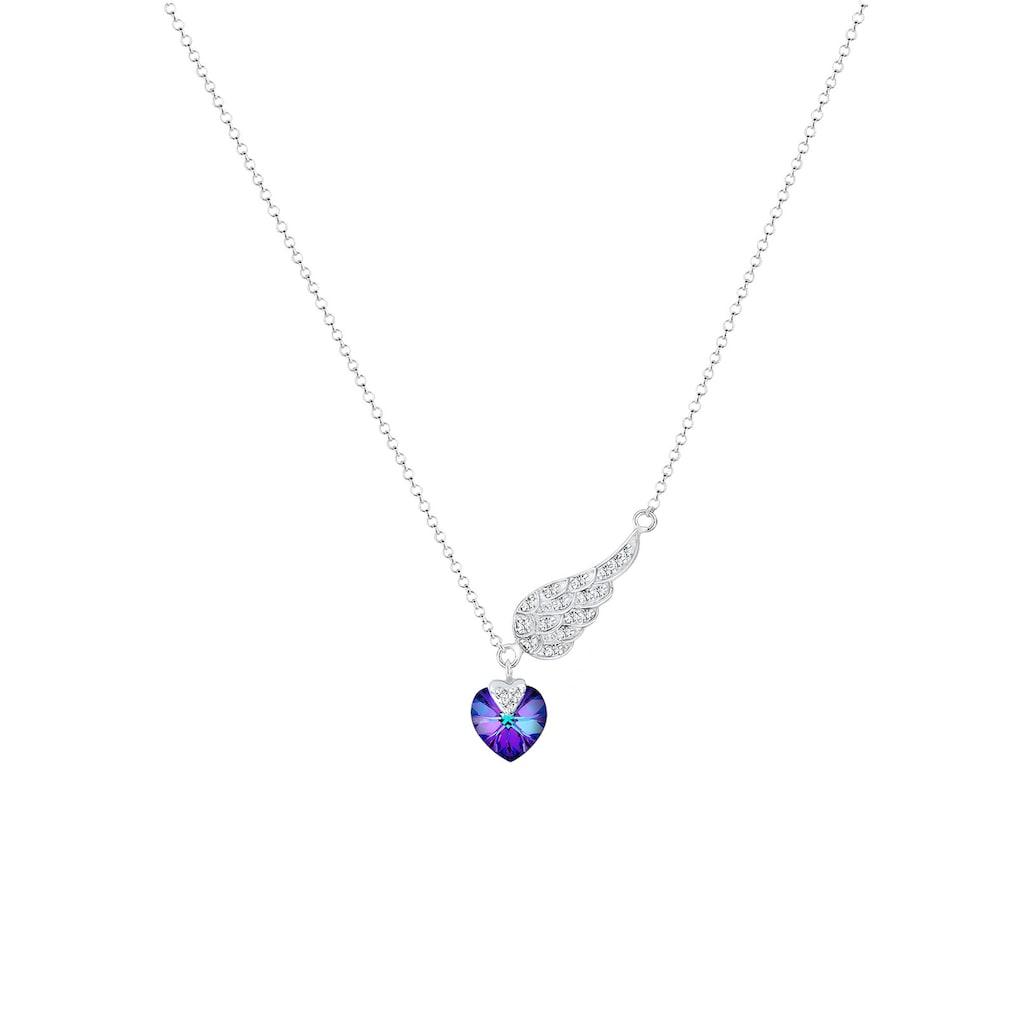 Elli Collierkettchen »Herz Flügel Kristalle 925 Silber«