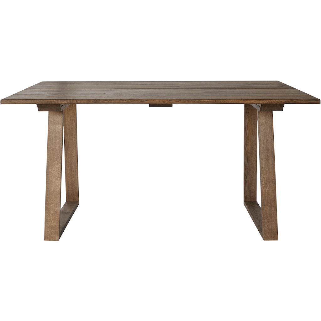 OTTO products Esstisch »Lennard«, aus massiver geölter Wildeiche, mit veganem und zertifizierten Bio-Öl behandelt, rechteckige Tischplatte, mit Holzkufengestell