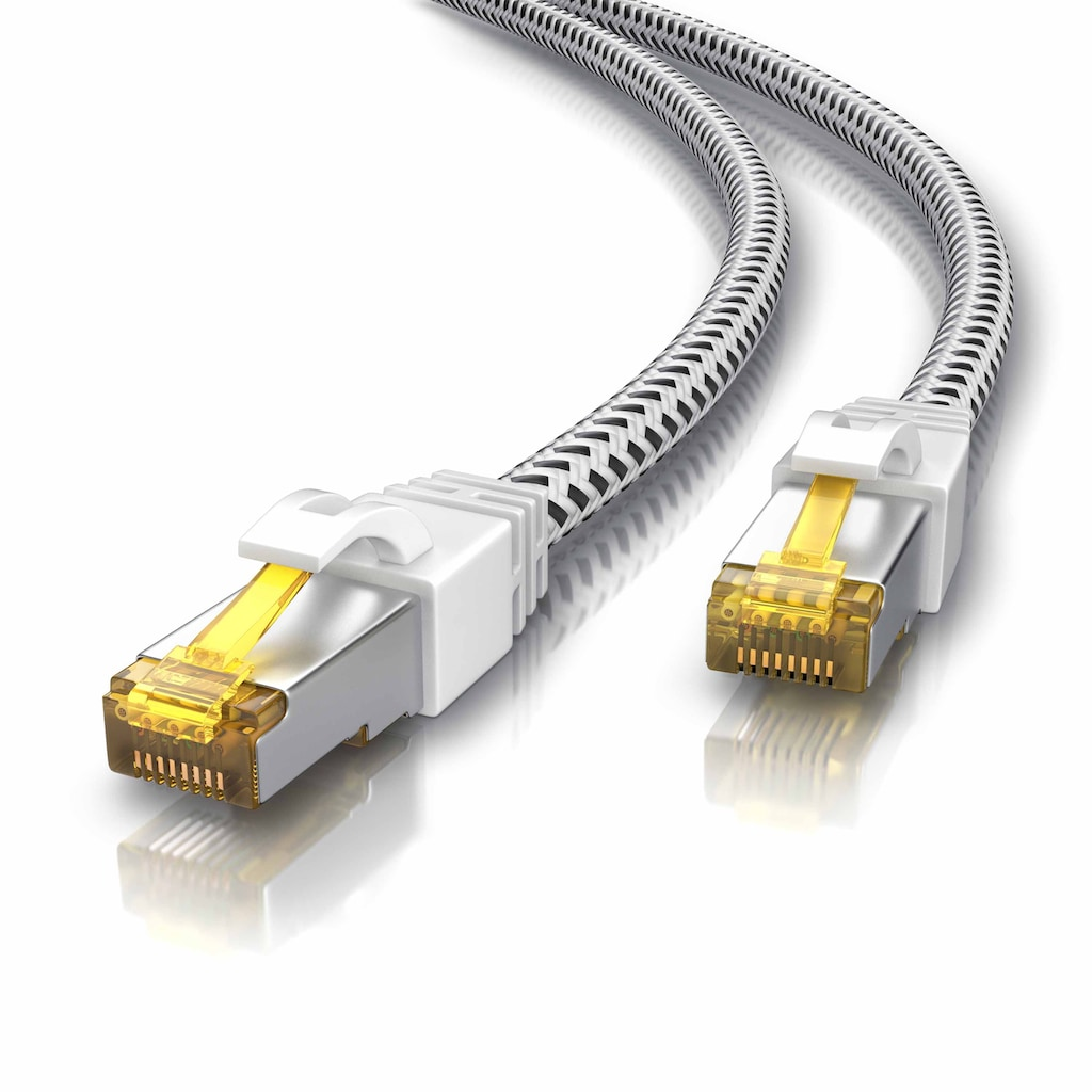 Primewire Netzwerkkabel »Cat.7 Rohkabel mit RJ 45 Stecker«, RJ-45 (Ethernet), 2000 cm, Gigabit Ethernet LAN mit Baumwollmantel