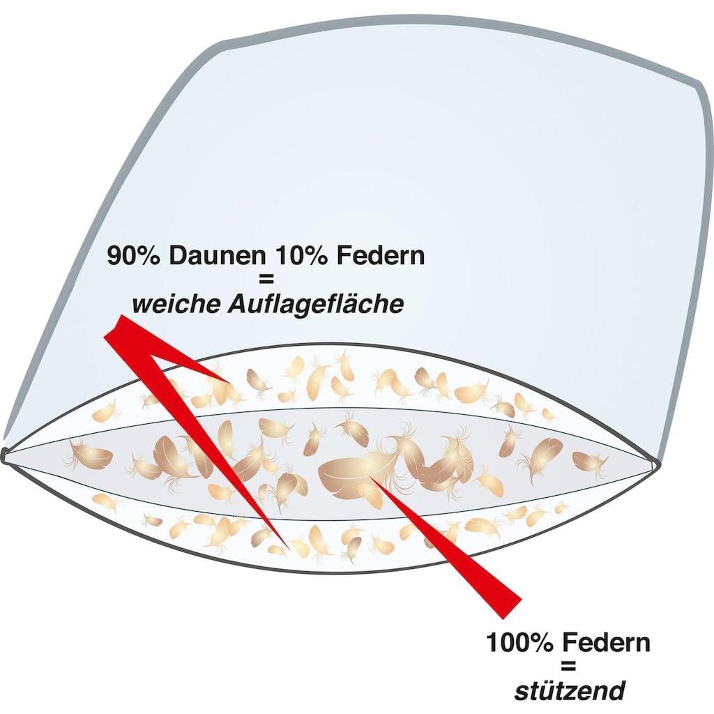 Haeussling 3-Kammer-Kopfkissen »Swiss Royal«, Füllung: 90% Daunen, 10% Federn; 100% Federn, Bezug: Bezug feines Köperinlett aus 100% Baumwolle, (1 St.), Kein Lebendrupf!